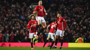 Zlatan Ibrahimovic celebrates his equaliser at Old Trafford