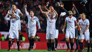 Sevilla players celebrate their victory at the Ramon Sanchez Pizjuan Stadium