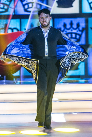 Week 1: Hughie brings some fierce attitude to the stage and a dramatic costume.