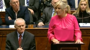 Sinn Féin's Martin McGuinness and Michelle O'Neill in the Stormont chamber this morning