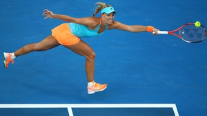 Angelique Kerber plays a forehand during her clash with Lesia Tsurenko