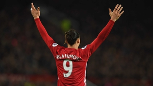 Zlatan Ibrahimovic celebrates his equaliser against Liverpool