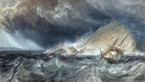 A Ship against the Mew Stone, at the entrance to Plymouth Sound (1814) by JMW Turner