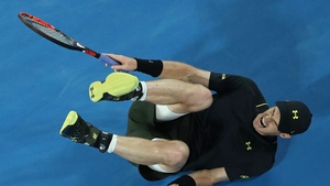 Andy Murray hits the deck at the Rod Laver Arena