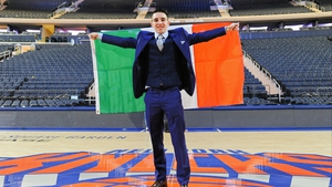 Michael Conlan flies the tri-colour at the Garden earlier today
