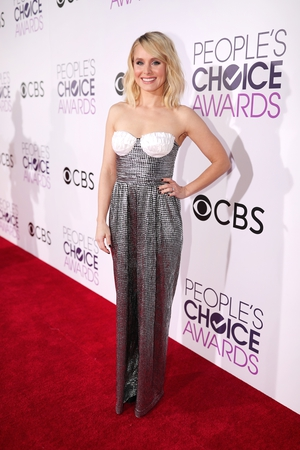 Interesting Rasario jumpsuit choice by Kristen Bell but the talented actress has much to smile about having won the award for Favourite Actress in a New TV Series for The Good Place
