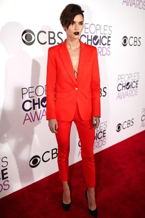 Ruby Rose follows Melissa McCarthy's trend and stood out in this Orange is the new Black look from Veronica Beard