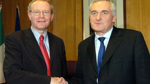 McGuinness meets then taoiseach Bertie Ahern at Government Buildings in 2004