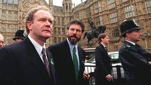 Newly-elected Sinn Féin MPs Adams and McGuinness leave Parliament at Westminster after challenging an order barring them from the premises for refusing to swear allegiance to Queen Eilzabeth