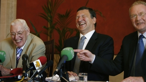 Paisley, EC President Jose Manuel Barroso and McGuinness share a laugh during a press conference at Stormont in 2007