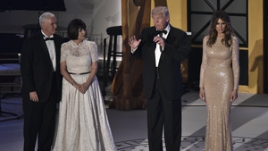 US President-elect Donald Trump, Vice President-elect Mike Pence (L), Karen Pence (2L), and Melania Trump (R) during a reception and dinner at in Washington DC last night