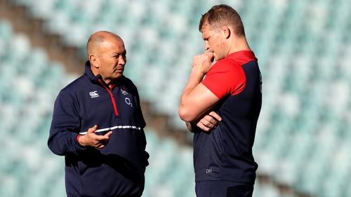 England head coach Jones (left) has kept faith with Dylan Hartley
