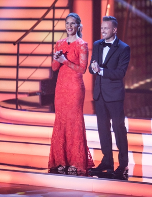 Week 2: Amanda was a lady in red for week two while Nicky pulled off a look 007 would be proud of.