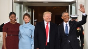 The incoming and outgoing Presidents and their First Ladies at the White House