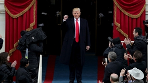 Donald Trump arrives at the inauguration ceremony
