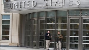 Security agents outside the US Federal Courthouse in Brooklyn