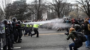 Protesters clash with police in downtown Washington