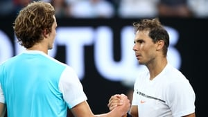 Rafael Nadal is congratulated by Germany's Alexander Zvere
