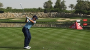 Paul Dunne playing into the 12th hole during his third round in Abu Dhabi