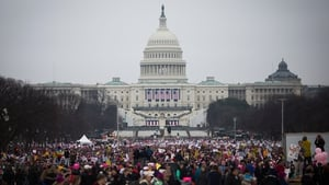 Demonstrators pour onto the National Mall in Washington