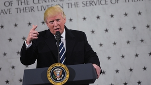 US President Donald Trump addresses staff at CIA Headquarters in Langley, Virginia