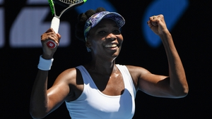 Venus Williams celebrates her fourth-round win over Mona Barthel