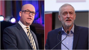 Victory for UKIP leader Paul Nuttall (L) in the Stoke by-election would be big blow to Labour leader Jeremy Corbyn