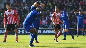 Leicester's Wes Morgan reacts to a missed chance
