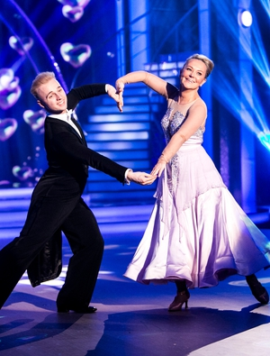Week 3: Dr Eva looked like a fairy tale princess during her foxtrot with Sean Smullen.