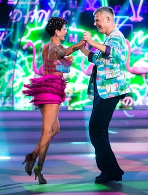Week 3: Des Bishop brought great face to his Salsa with Giulia Dotta but lets be honest, that jacket stole the show.