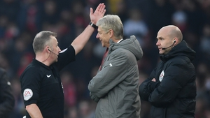 Arsenal boss Arsene Wenger being sent off in Sunday's game