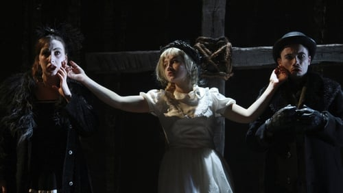 Kate Murray, Rosa Mikeala and Jarlath Tivnan in the Decadent Theatre production of The Pillowman by Martin McDonagh