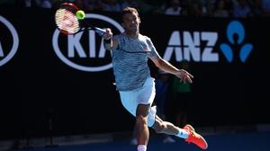 Grigor Dimitrov in action at the Australian Open in Melbourne