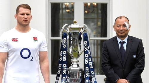 Dylan Hartley and Eddie Jones at today's RBS 6 Nations launch
