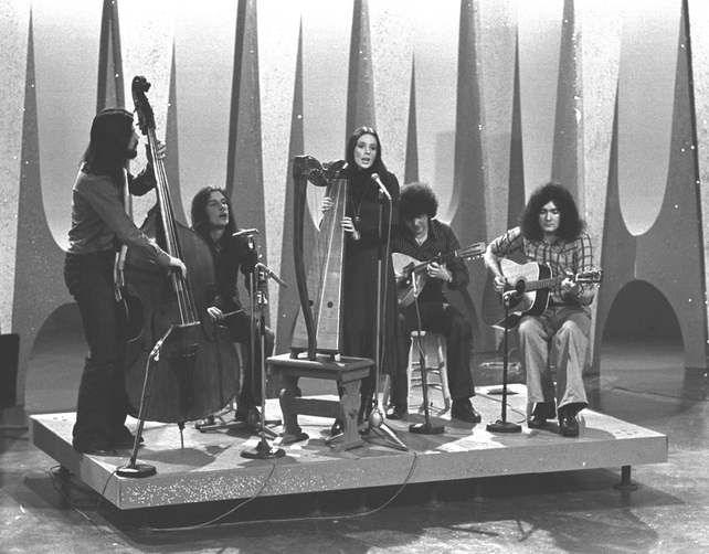 Clannad performing in the 'Pan-Celtic Song Contest', in an RTÉ Television studio in 1975.