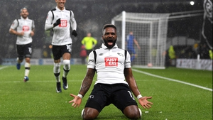 Darren Bent celebrates the goal he meant to score at Pride Park