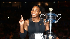Serena Williams with her Australian Open trophy in early 2017