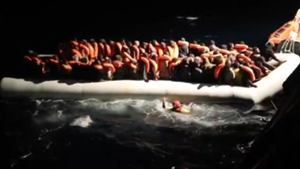 The migrants were rescued from overcrowded rubber boats