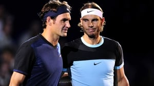 Roger Federer (L) with his great rival Rafa Nadal