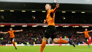 Andreas Weimann celebrates his goal at Anfield