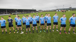 Dublin players stand for attention ahead of throw-in in Drogheda