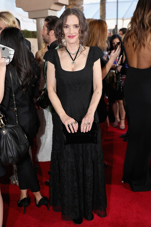 """Which designer was Winona Ryder wearing? """"I decided to forgo stylists and just go as myself."""" She looked beautiful, naturally."""