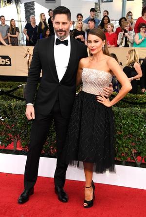 Joe Manganiello and Sofia Vergara who wore Zuhair Murad with Lorraine Schwartz jewelry.
