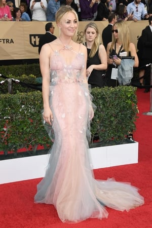 Mmmm: Big Bang Theory actress Kaley Cuoco looks beautiful but there is a little too much going on at the neckline.