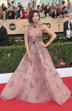 Taraji P. Henson is topping many of the Best Dressed lists in this stunning Reem Acra dress.