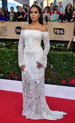 Stylist Erin Walsh chose this off-the-shoulder Roberto Cavalli dress for Kerry Washington.
