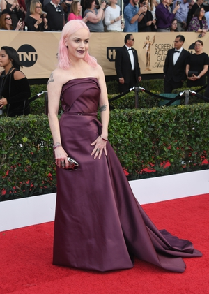 Mmmm: OITNB star Taryn Manning chose this burgundy dress which dwarfed her slim frame. A lot of talk that she has started a new pink-haired trend though!