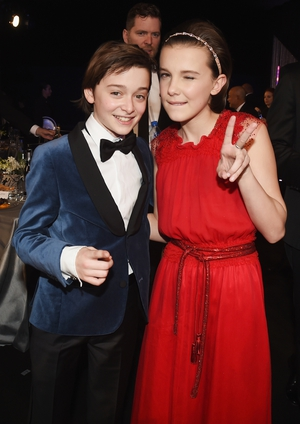 Best: Stranger Things pals Noah Schnapp and Millie Bobby Brown. Peace right back at ya' kiddies.