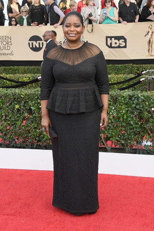 Best: Octavia Spencer looked very glamourous in this peplum dress by her regular red carpet stylist Tadashi Shoji. Looked even better live on the red carpet.