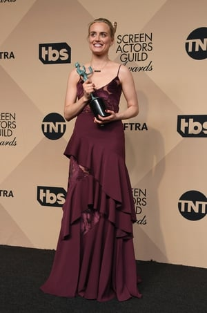 Best: Taylor Schilling with the Orange is the New Black award wearing an ADEAM dress with matching lipstick and nails.